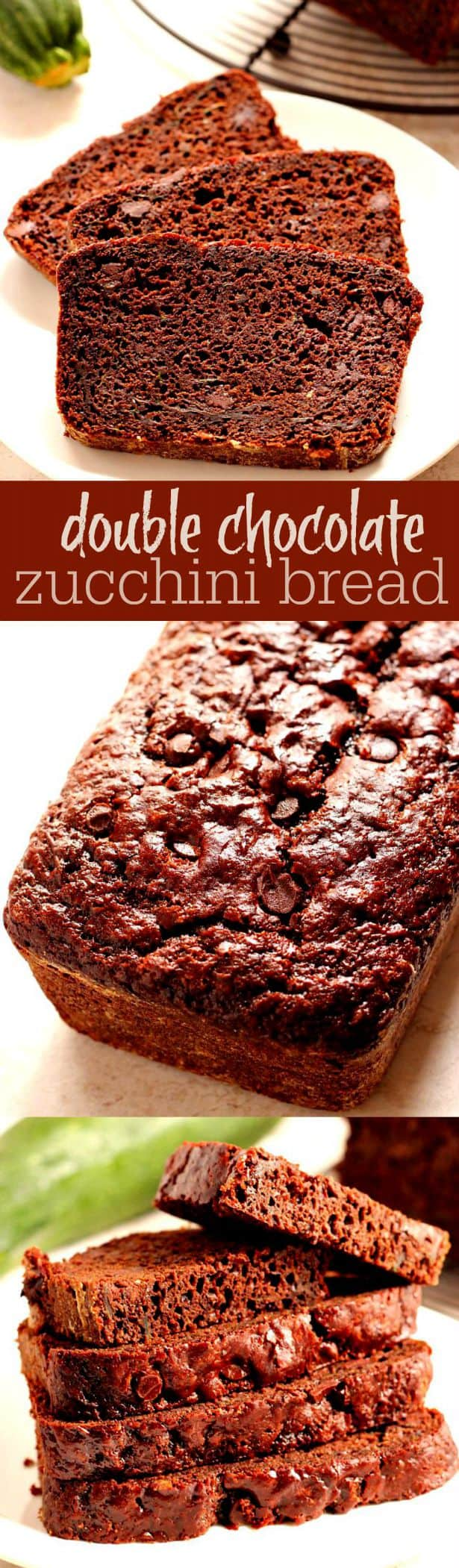 double chocolate zucchini bread long Double Chocolate Zucchini Bread