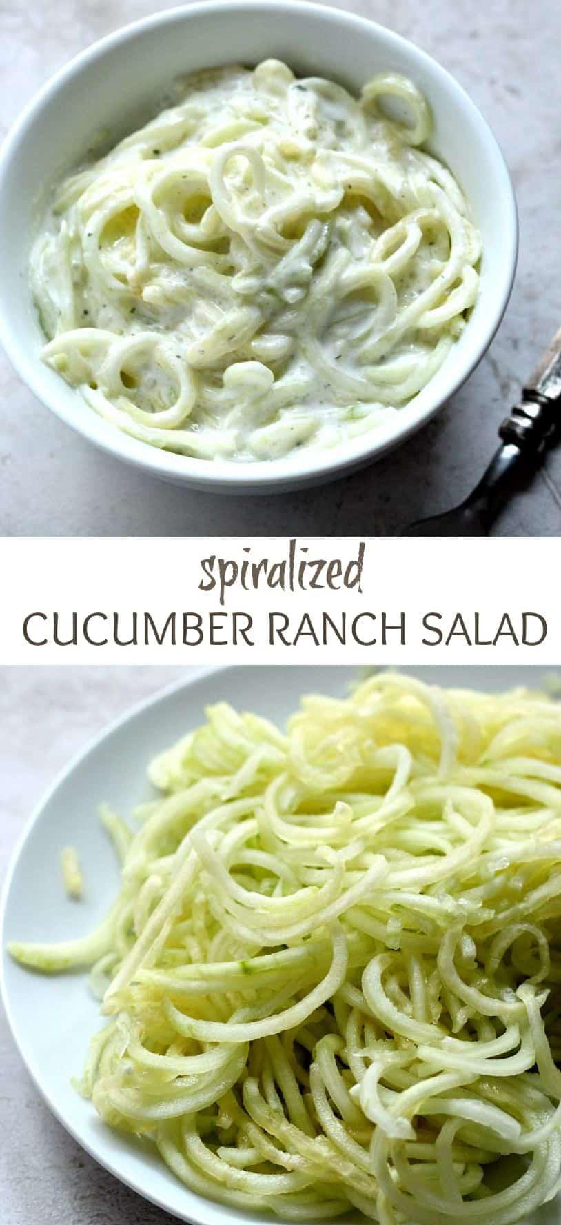 spiralized cucumber ranch salad long Spiralized Cucumber Ranch Salad
