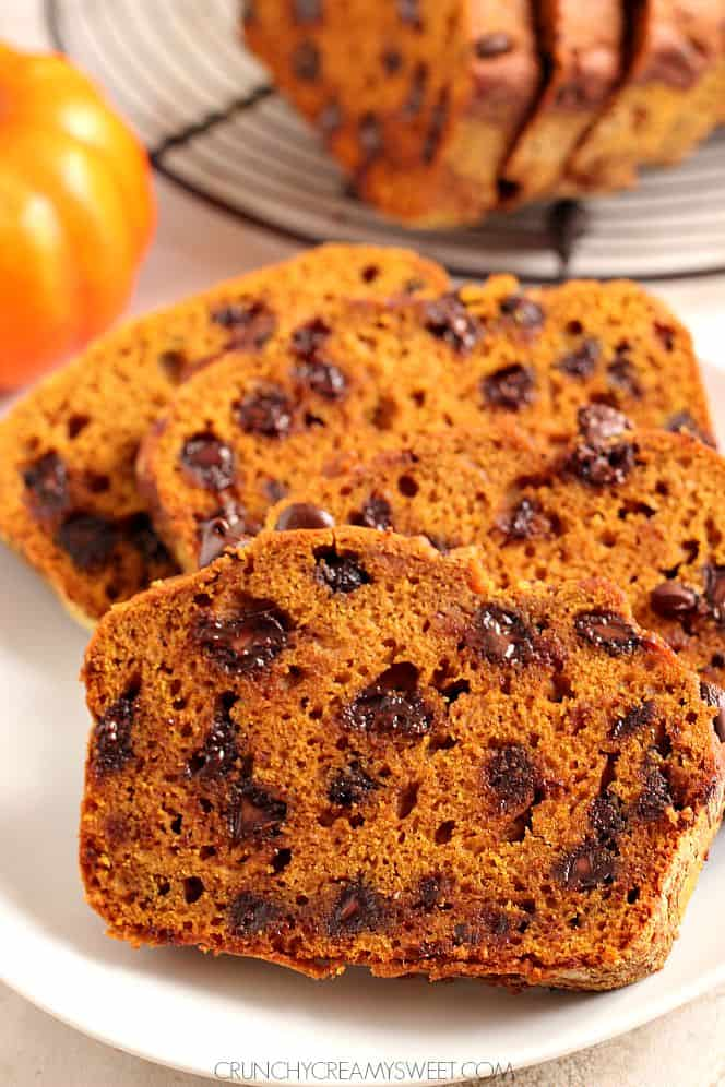 pumpkin chocolate chip bread 2 Bakery Style Chocolate Chunk Pumpkin Muffins