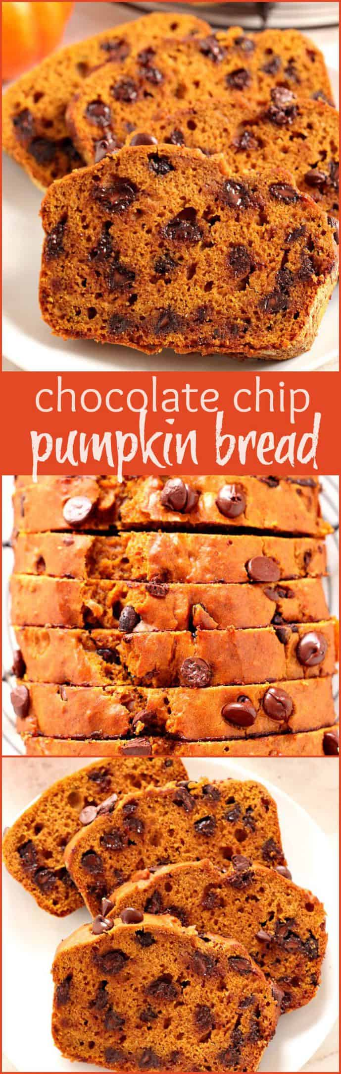 Pumpkin Chocolate Chip Bread - Crunchy Creamy Sweet