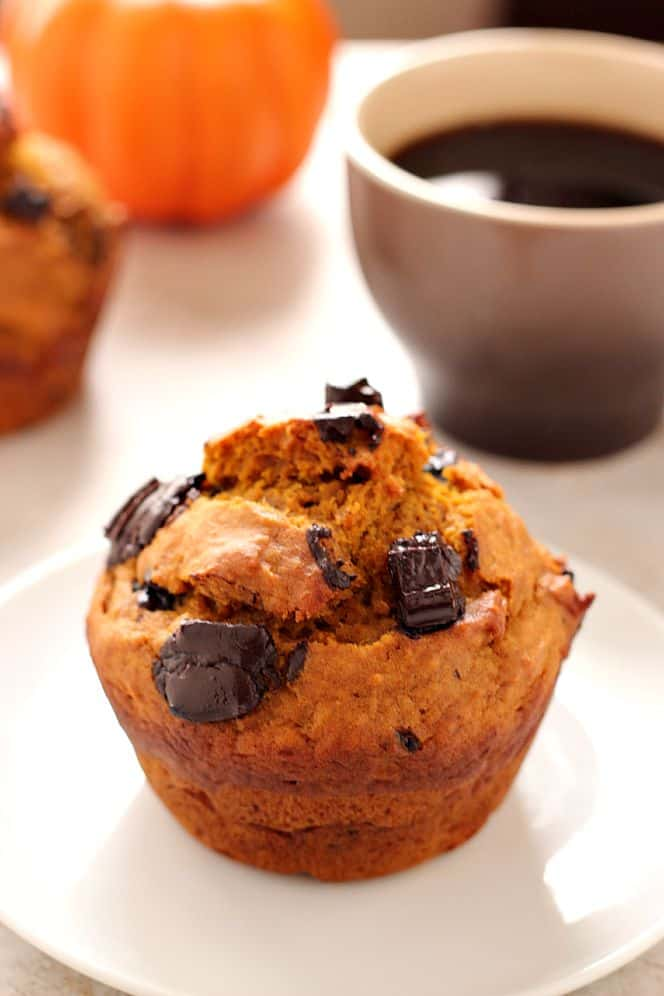 pumpkin jumbo muffins 1 Bakery Style Chocolate Chunk Pumpkin Muffins