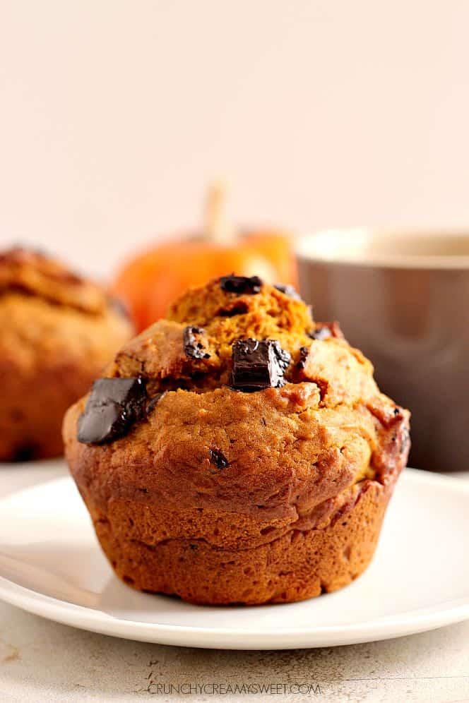 pumpkin muffins 2 Bakery Style Chocolate Chunk Pumpkin Muffins
