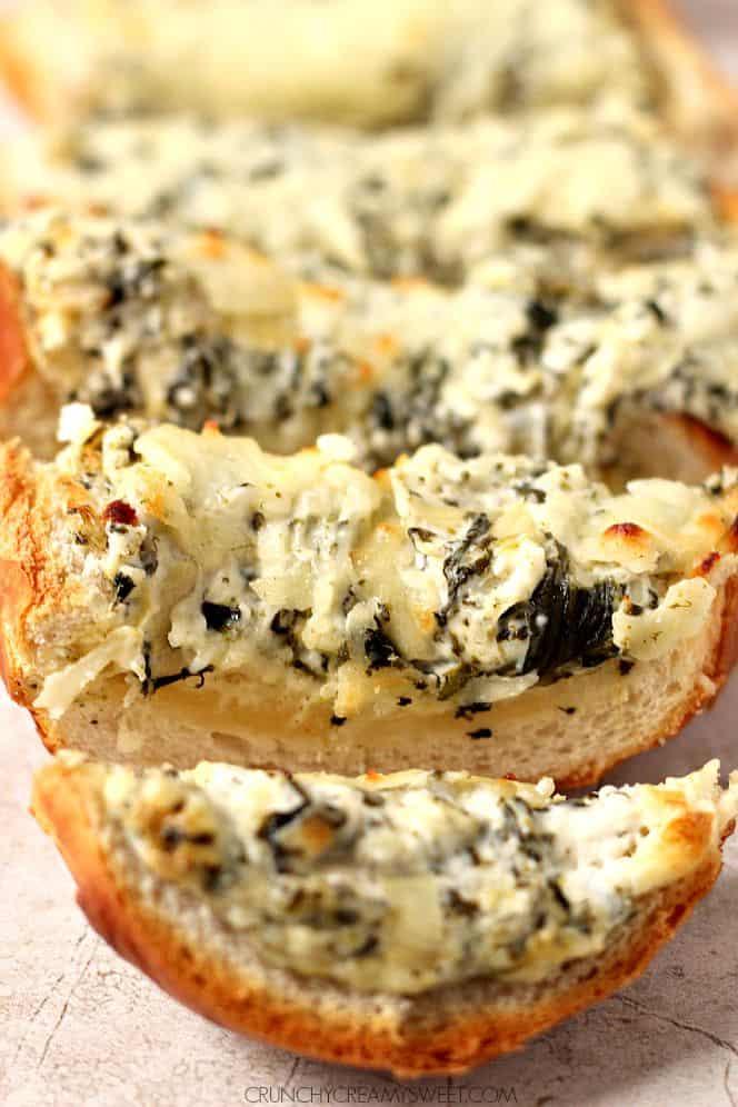 spinach artichoke dip cheesy bread 2 Spinach Artichoke Dip Cheesy Bread