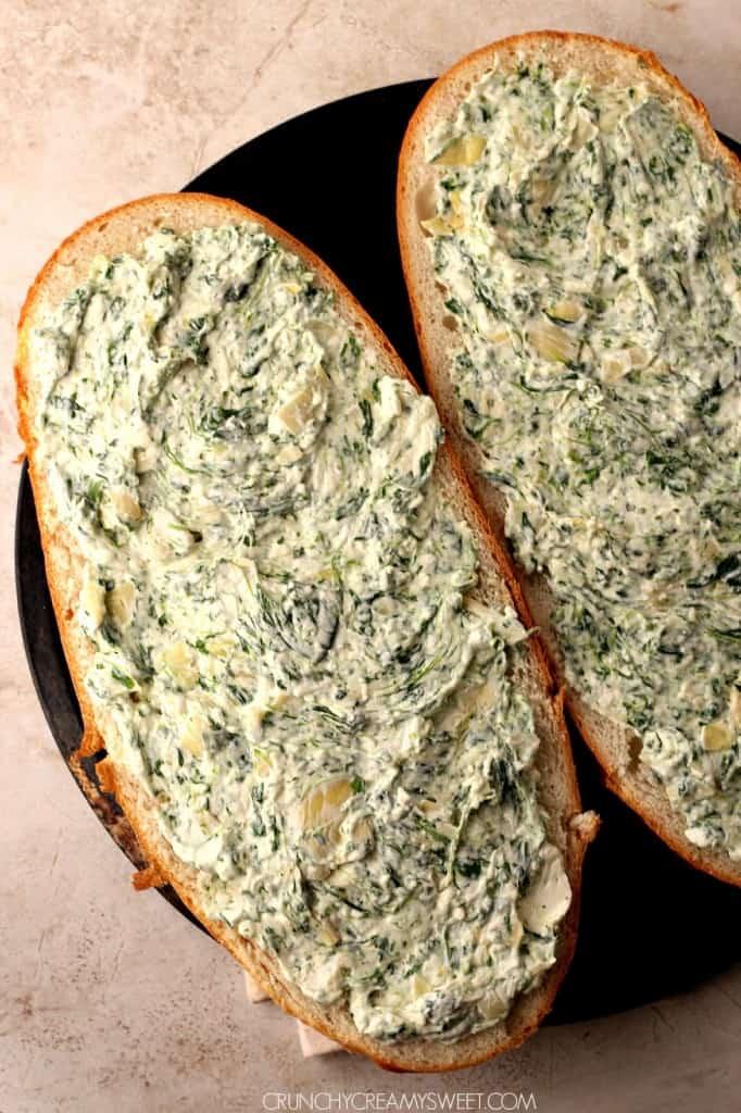 spinach artichoke dip cheesy bread 4 682x1024 Spinach Artichoke Dip Cheesy Bread