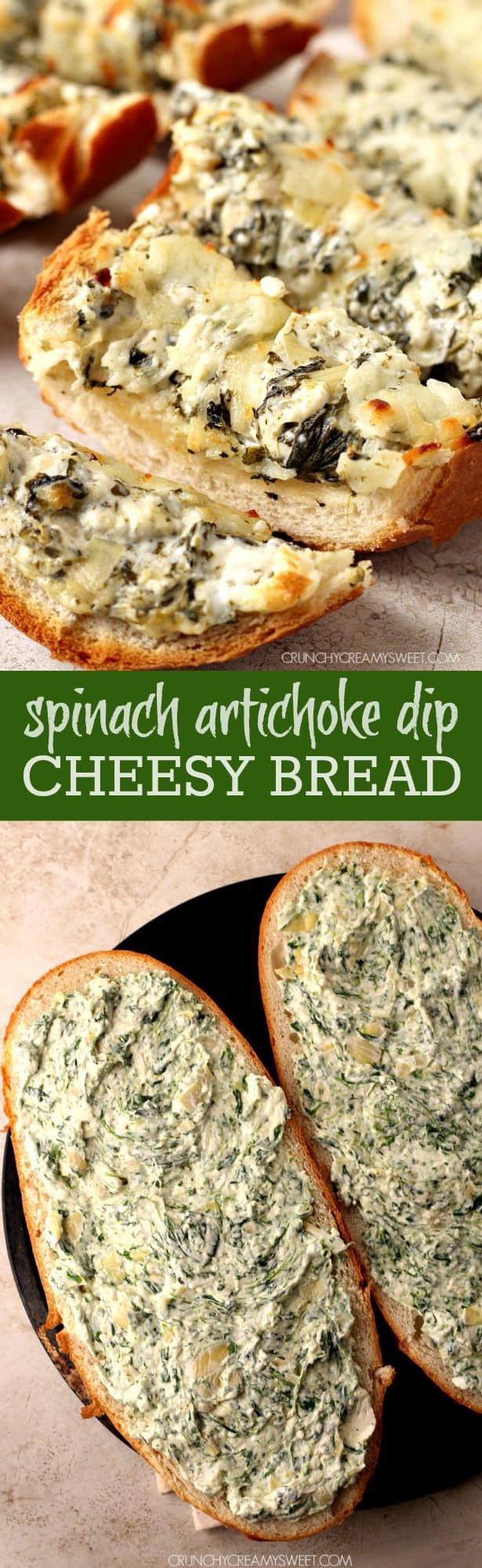 spinach artichoke dip cheesy bread long Spinach Artichoke Dip Cheesy Bread