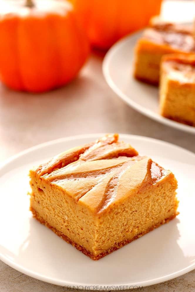 caramel swirl pumpkin cheesecake bars 4 Pumpkin Cheesecake Bars