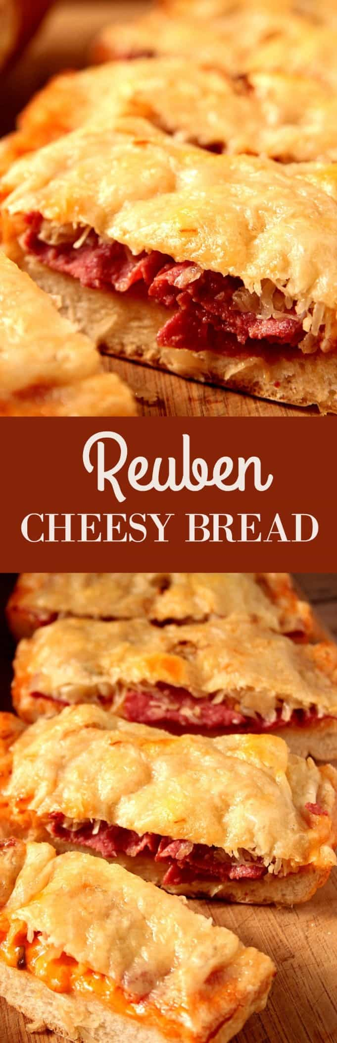 reuben cheesy bread long Easy Reuben Cheesy Bread
