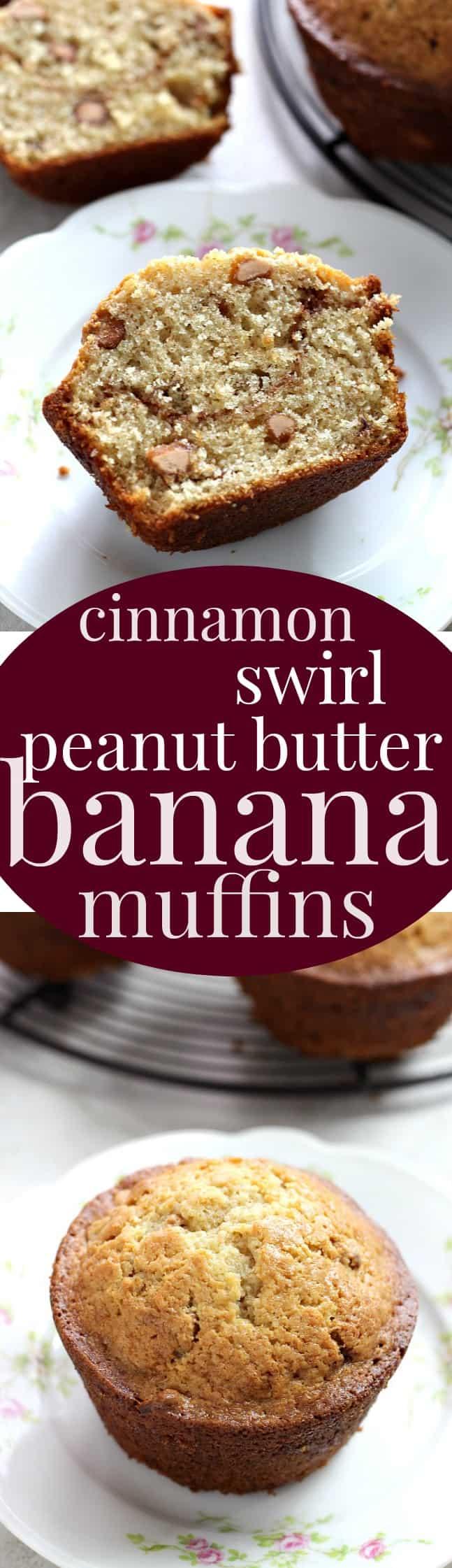 cinnamon swirl peanut butter banana muffins long Cinnamon Swirl Peanut Butter Banana Muffins + Video!