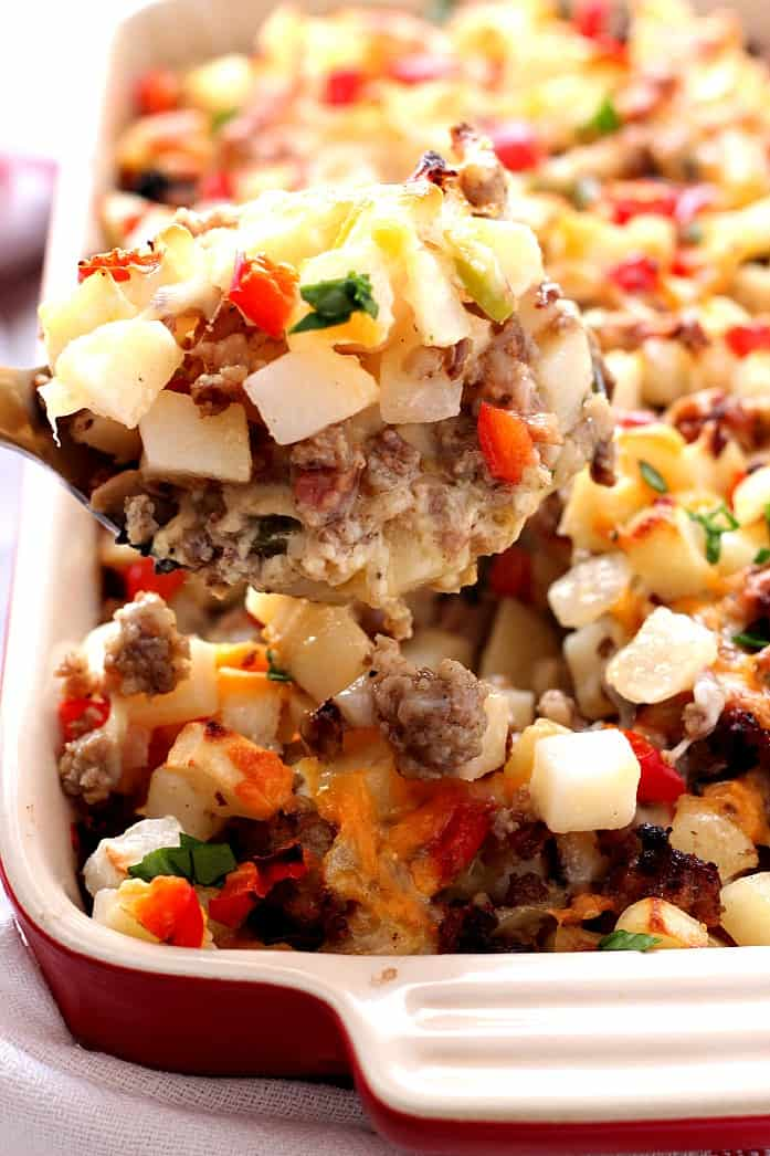 breakfast casserole 4 Christmas Breakfast Skillet Casserole and Le Creuset Giveaway!