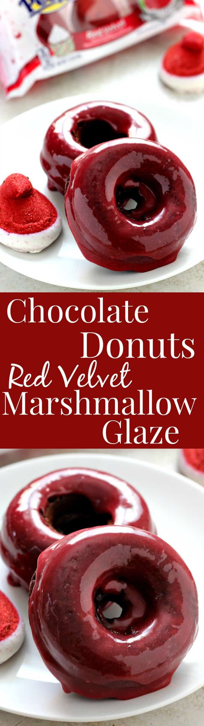 chocolate donuts long Baked Chocolate Donuts with Red Velvet Marshmallow Glaze