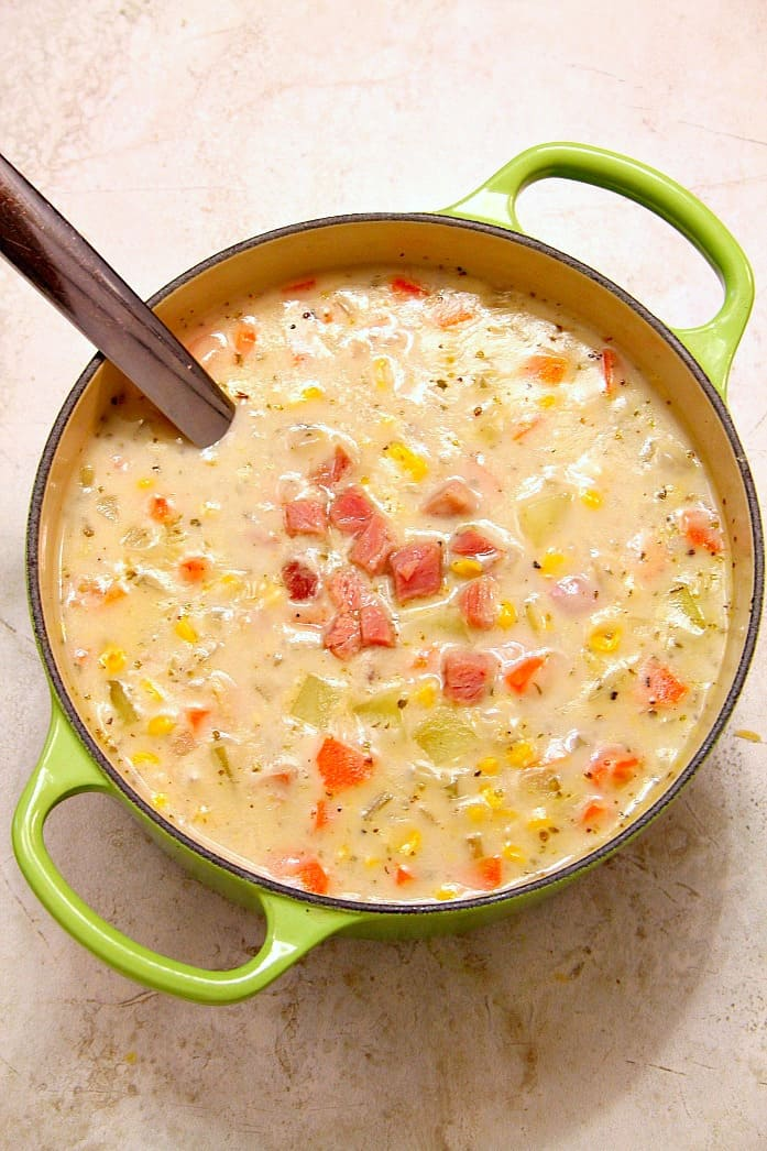 ham chowder 4 Ham Potato and Corn Chowder Recipe