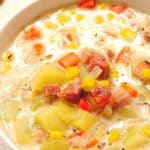 Ham Potato and corn Chowder in a bowl.