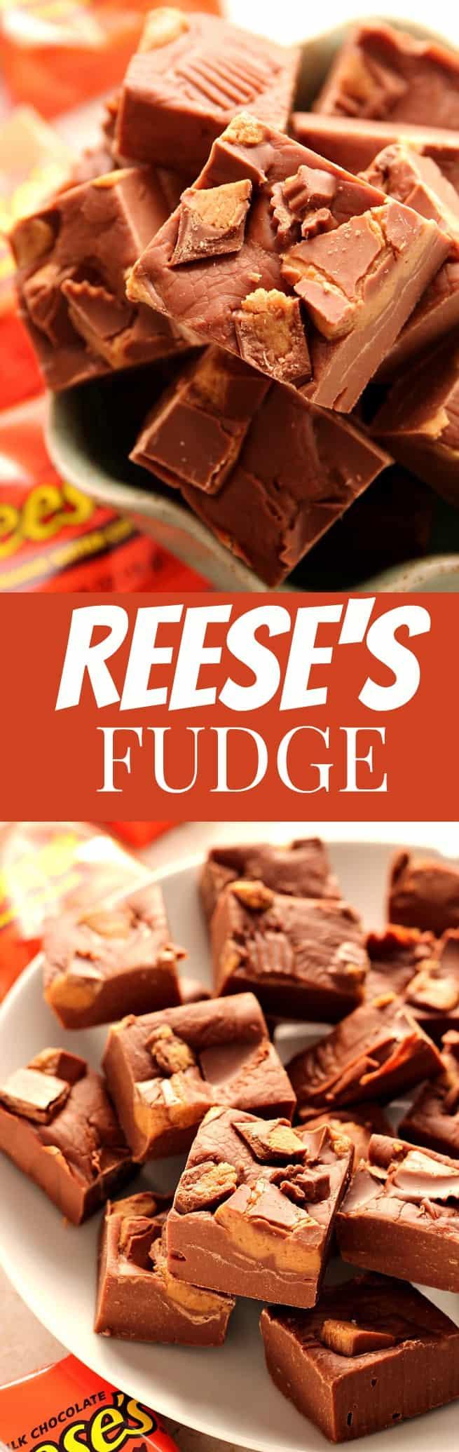 reeses fudge long Reeses Peanut Butter Cups Fudge Recipe ( 3 ingredients )
