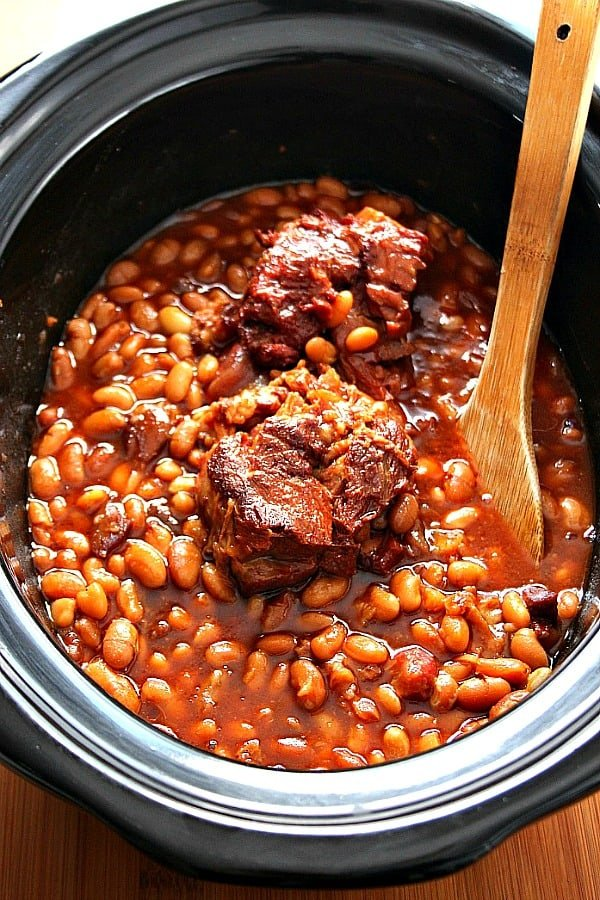 Slow Cooker Baked Beans Using Dried Beans Crunchy Creamy Sweet