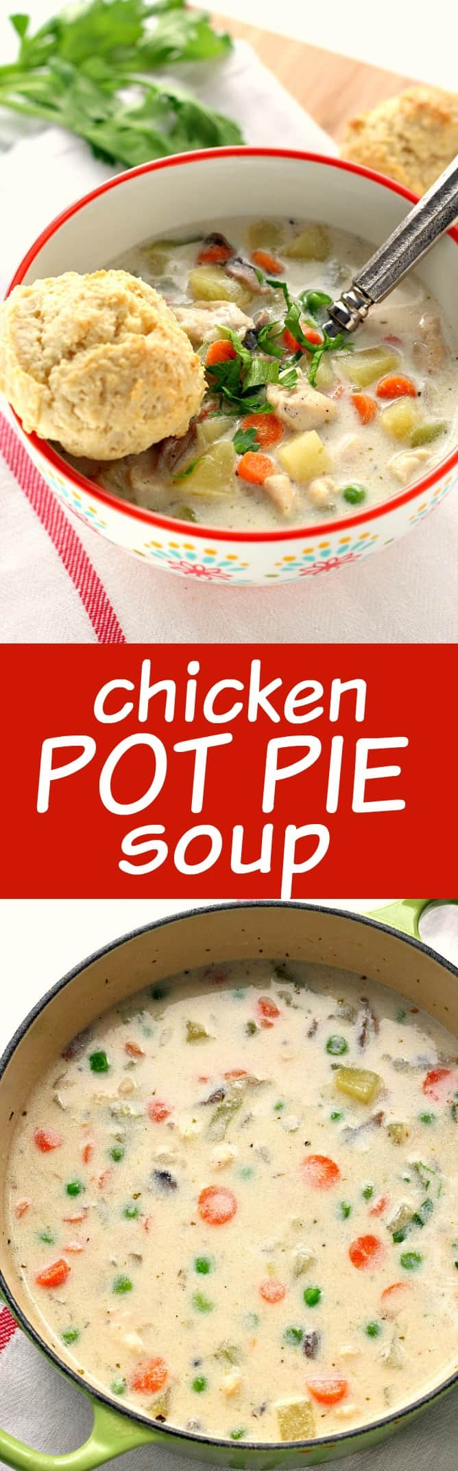 Chicken pot pie soup recipe crunchy creamy sweet for How long to boil a whole chicken for soup