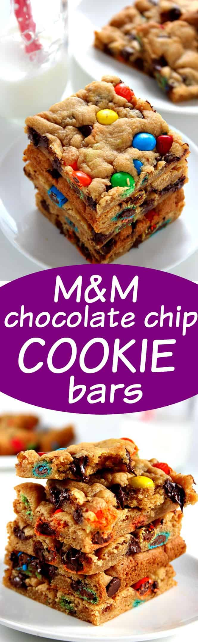 mm chocolate chip bars long M&M Chocolate Cookie Bars Recipe