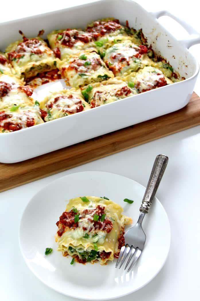 roll ups 3 Spinach Lasagna Roll Ups Recipe
