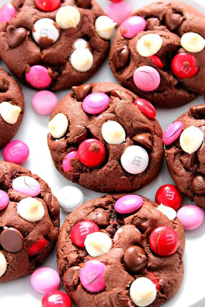vday cookies 3 Double Chocolate M&M Cookies Recipe