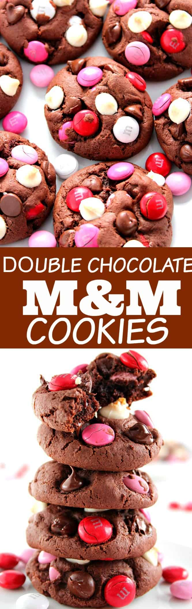 vday cookies long Double Chocolate M&M Cookies Recipe