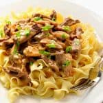 Beef Stroganoff on a white plate with fork.