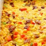 Cheddar Corn Casserole in baking dish.