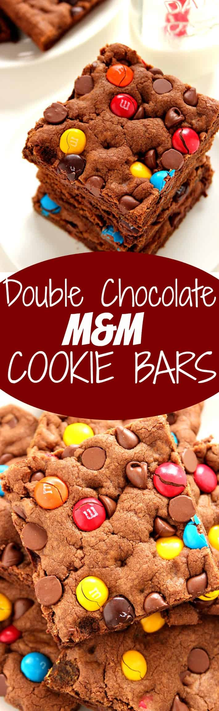 double chocolate mm cookie bars long Double Chocolate M&M Cookie Bars Recipe