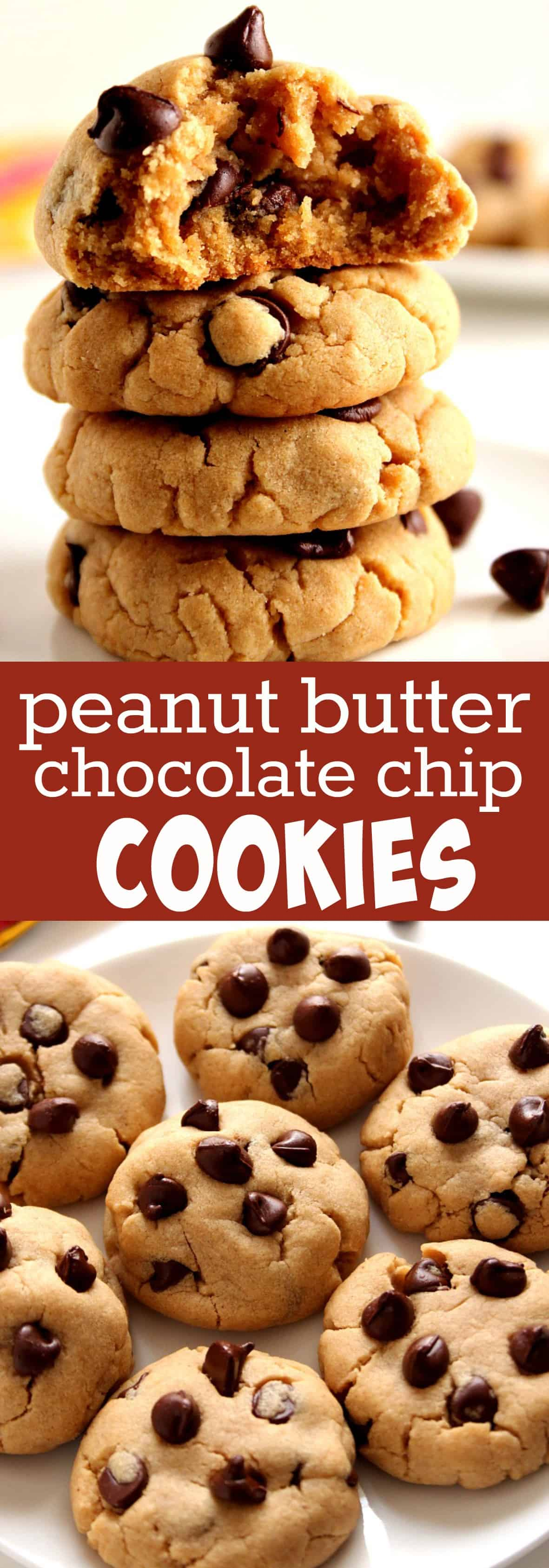 peanut butter chocolate chip cookies long Peanut Butter Chocolate Chip Cookies Recipe