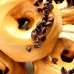 Group of Peanut Butter Glazed Chocolate Donuts.