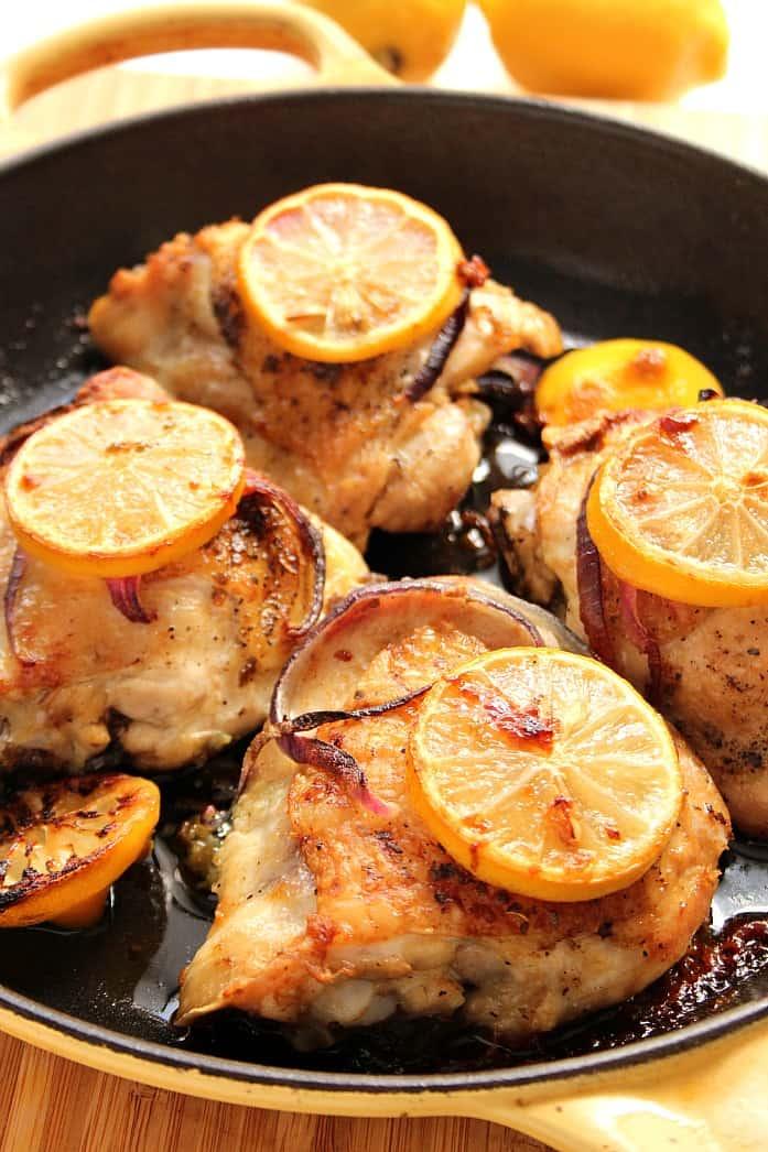 lemon chicken 4 Lemon Garlic Roasted Chicken Thighs