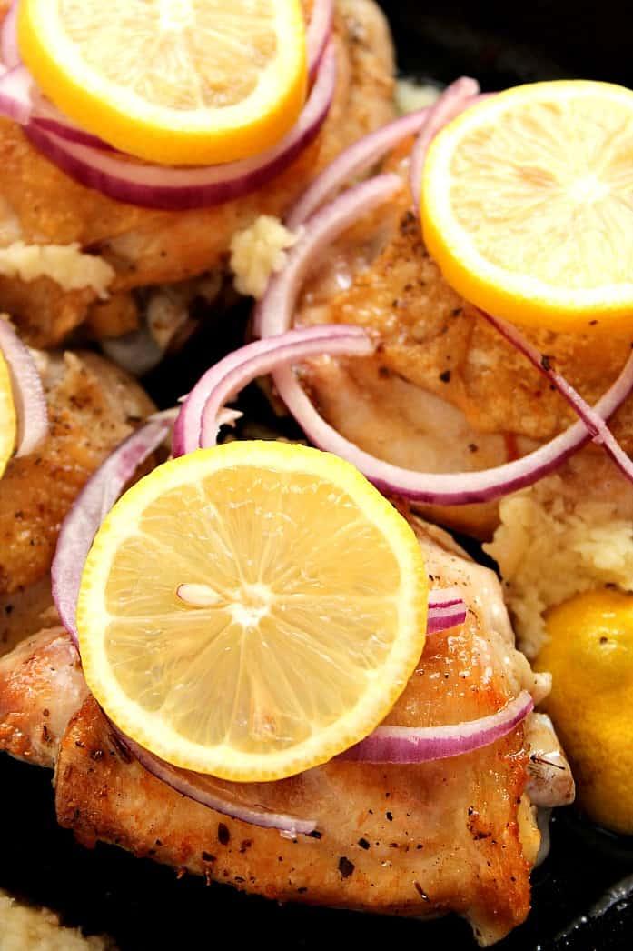lemon chicken 5 Lemon Garlic Roasted Chicken Thighs