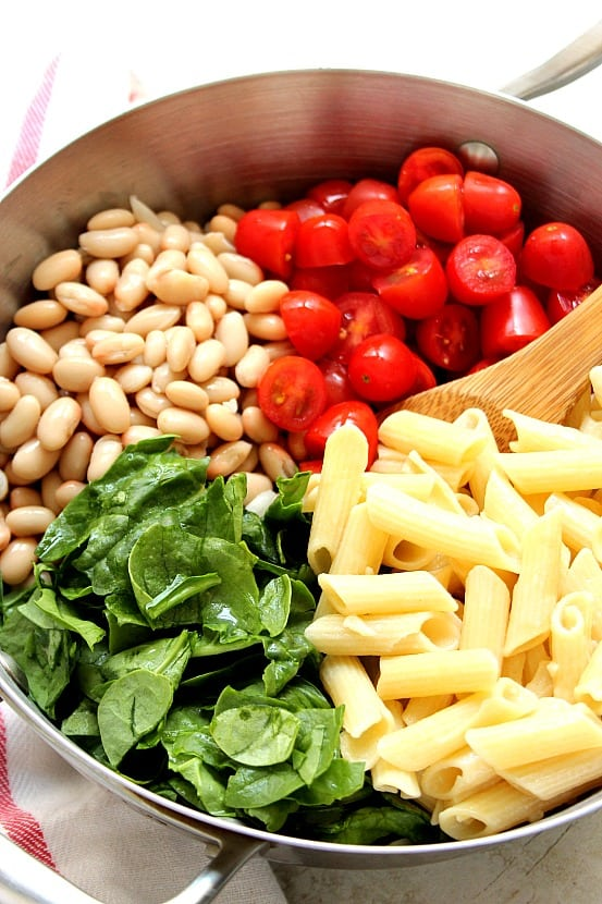 veggie pasta 5 20 Minute Skillet Pasta with Tomatoes, Spinach and Beans Recipe