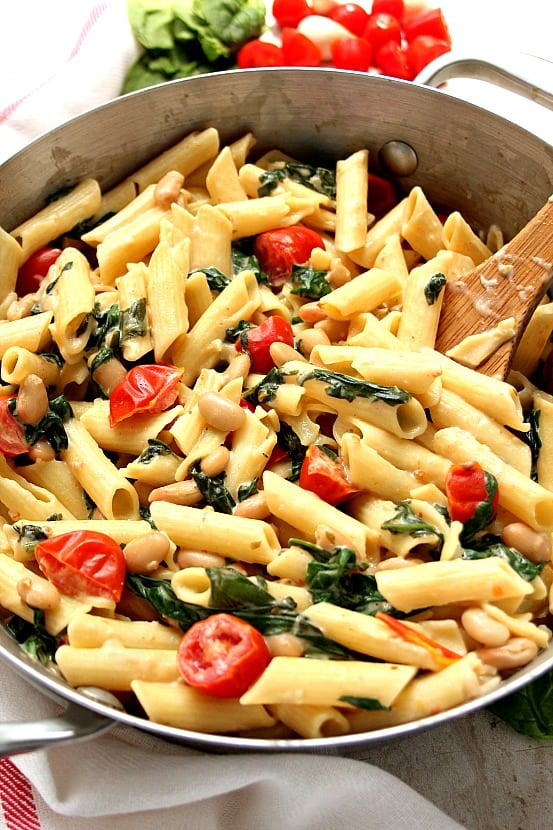 veggie pasta C 20 Minute Skillet Pasta with Tomatoes, Spinach and Beans Recipe