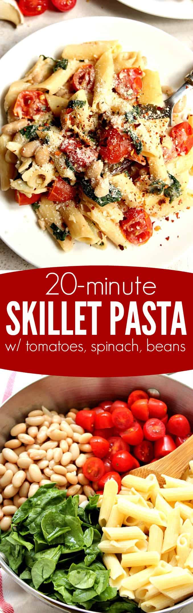 veggie pasta long1 20 Minute Skillet Pasta with Tomatoes, Spinach and Beans Recipe