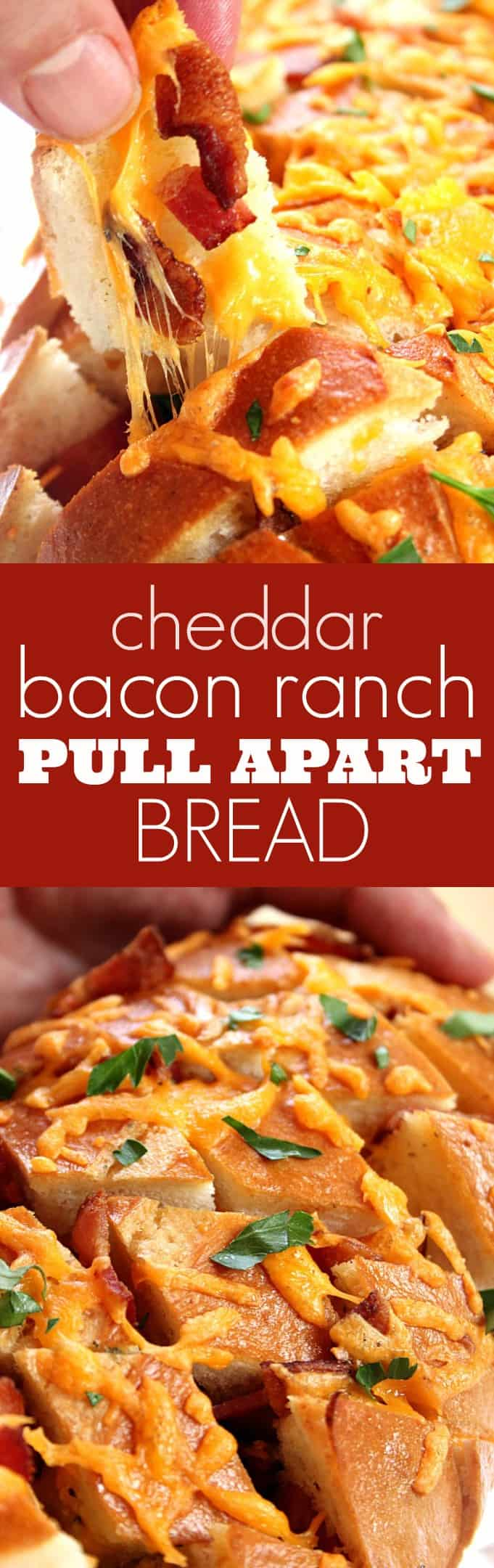 cheddar bacon ranch pull apart bread long Cheddar Bacon Ranch Pull Apart Bread Recipe