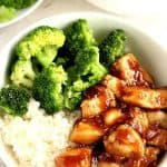Quick Teriyaki Chicken in a white bowl.