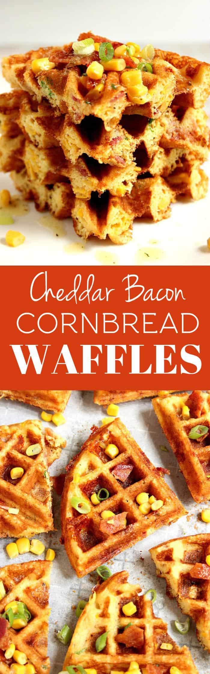 cornbread waffles long 2 Cheddar Bacon Cornbread Waffles Recipe