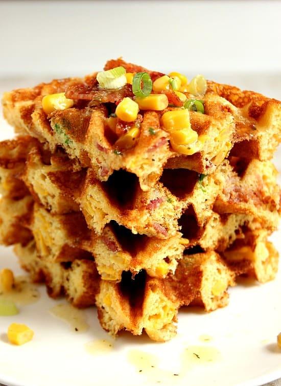 waffles 3 Cheddar Bacon Cornbread Waffles Recipe