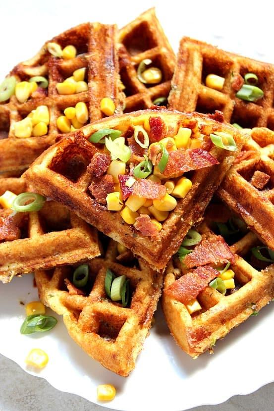 waffles 4 Cheddar Bacon Cornbread Waffles Recipe