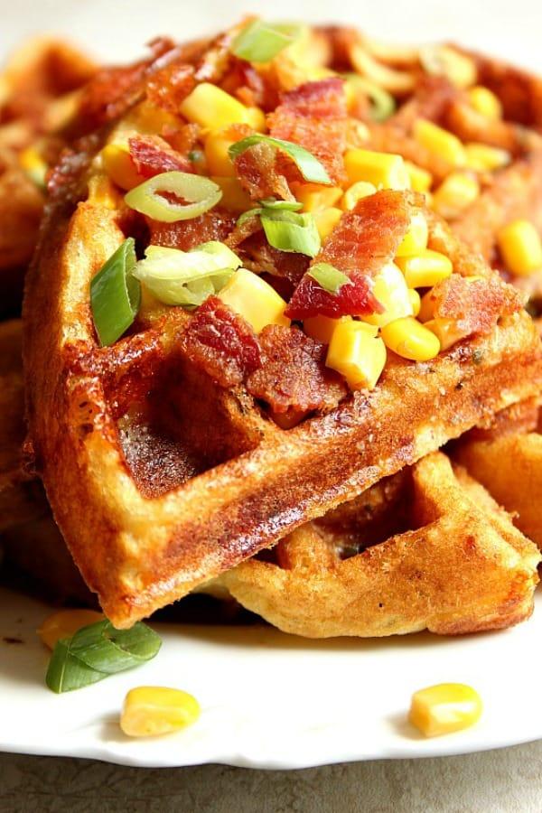 cheddar bacon cornbread waffles a Cheddar Bacon Cornbread Waffles Recipe