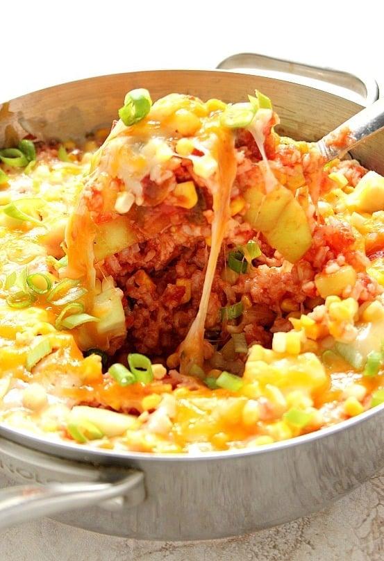 cheesy rice 1a Cheesy Salsa Rice with Zucchini and Corn Recipe