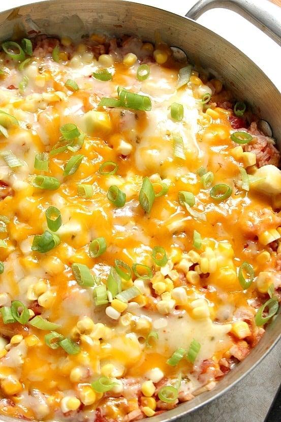 cheesy rice 3 Cheesy Salsa Rice with Zucchini and Corn Recipe