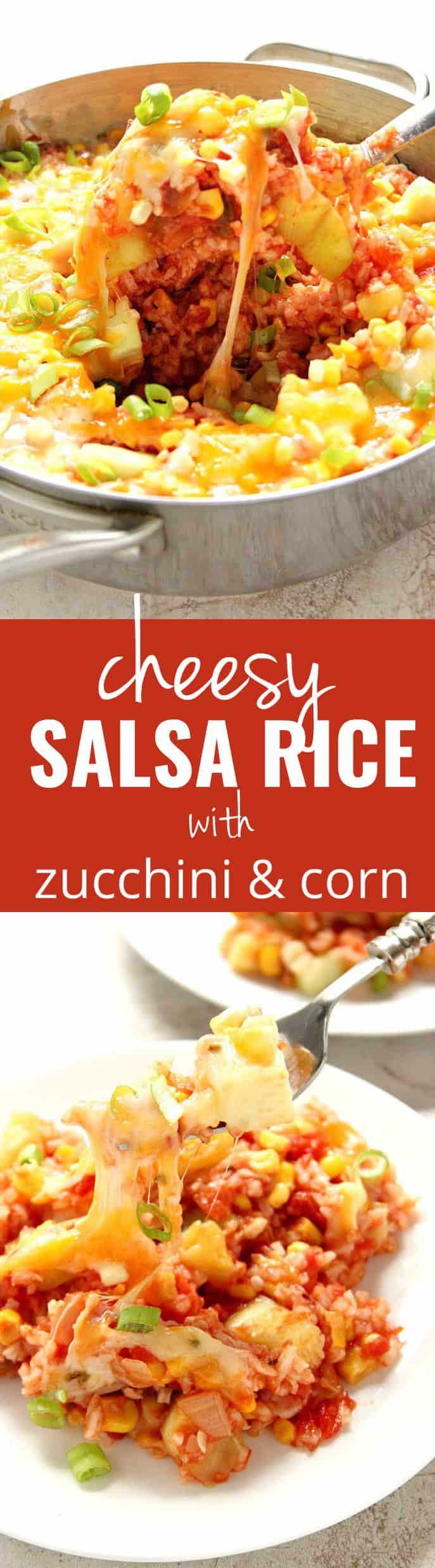 cheesy salsa rice long 1 Cheesy Salsa Rice with Zucchini and Corn Recipe