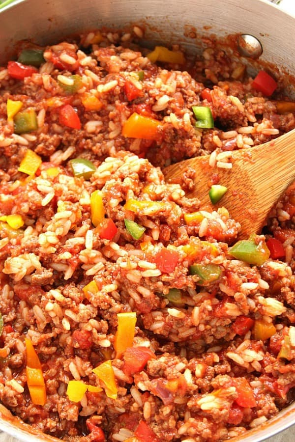 stuffed pepper skillet a Stuffed Pepper Rice Skillet Recipe