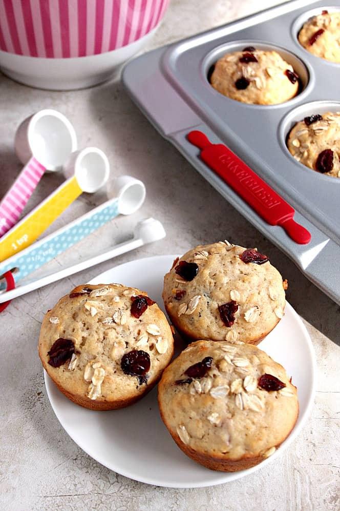 apple oat craisin muffins 1 Apple Oat Cranberry Muffins Recipe