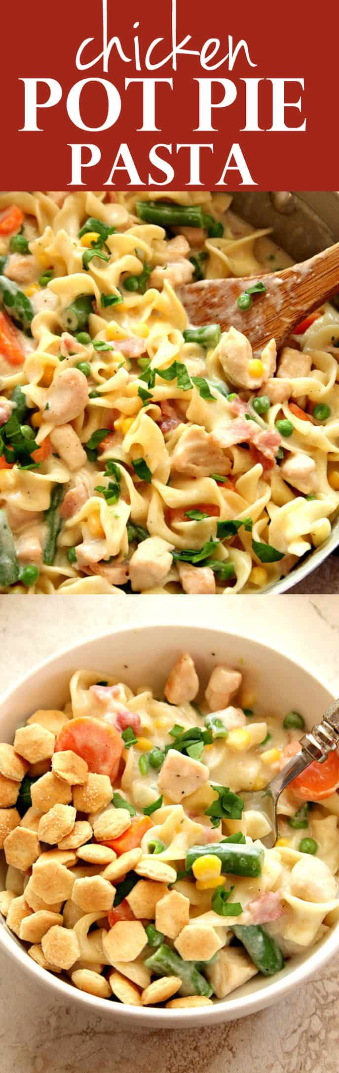 chicken pot pie skillet pasta long1 Chicken Pot Pie Skillet Pasta Recipe