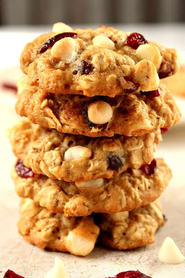 Cranberry White Chocolate Oatmeal Cookies Recipe - Crunchy Creamy ...