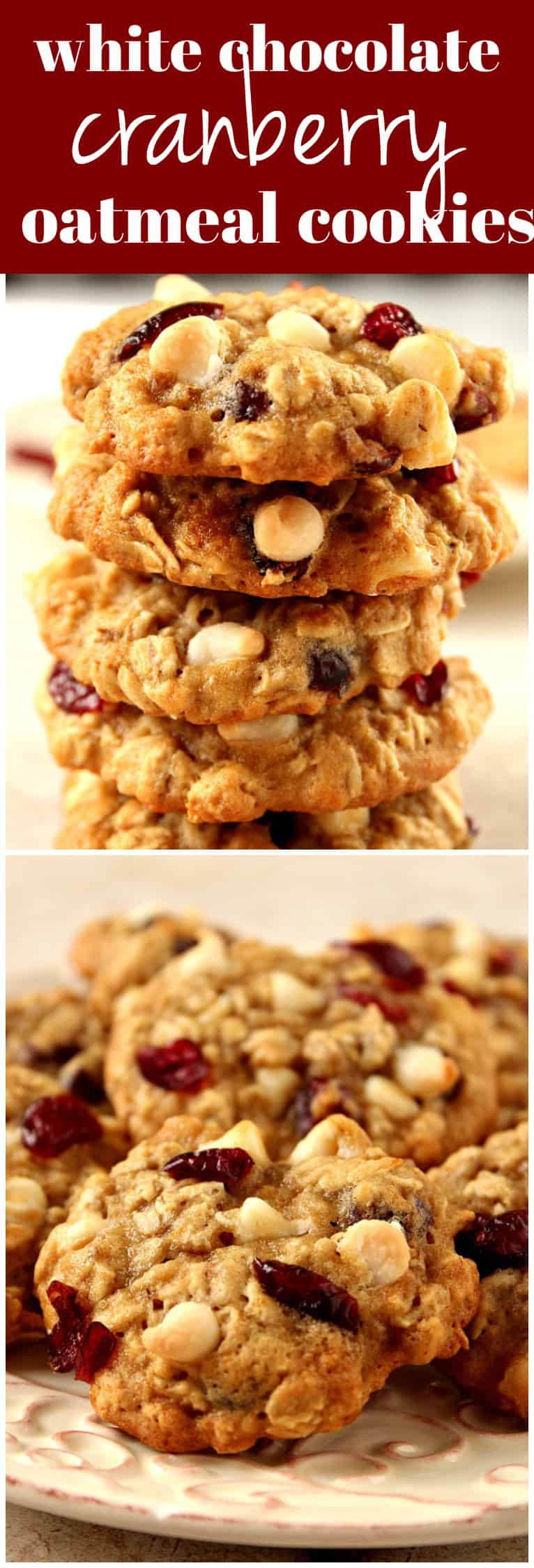 cranberry white chocolate oatmeal cookies long1 Cranberry White Chocolate Oatmeal Cookies Recipe