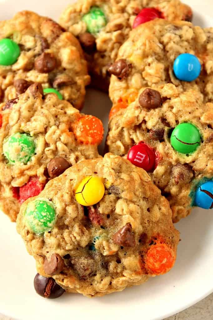 m m chocolate chip oatmeal cookies 1 682x1024 Oatmeal Chocolate Chip M&M Cookies Recipe