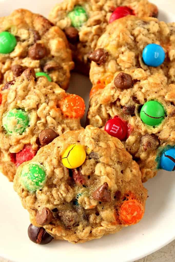 m m chocolate chip oatmeal cookies 1 682x1024 Oatmeal Chocolate Chip M&M Cookies Recipe