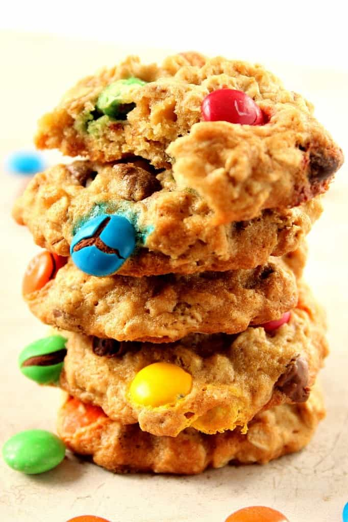 m m chocolate chip oatmeal cookies 2 682x1024 Oatmeal Chocolate Chip M&M Cookies Recipe